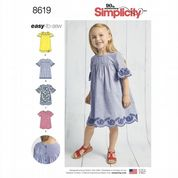 8619 Simplicity Pattern: Child's Dress with Sleeve and Fabric Variations
